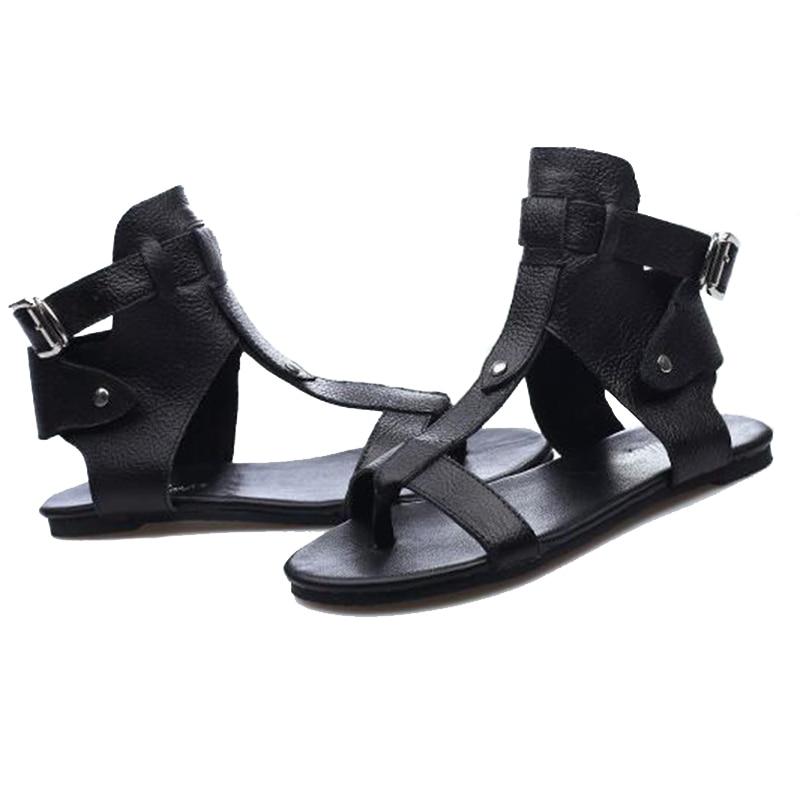 Zapatos Genuino Sandalias Hebilla Negro Flops De Remaches Planas Correa Gladiador Cuero Mujeres Wss890 Covoyyar Playa Flip Verano 2018 pq8wwafxP