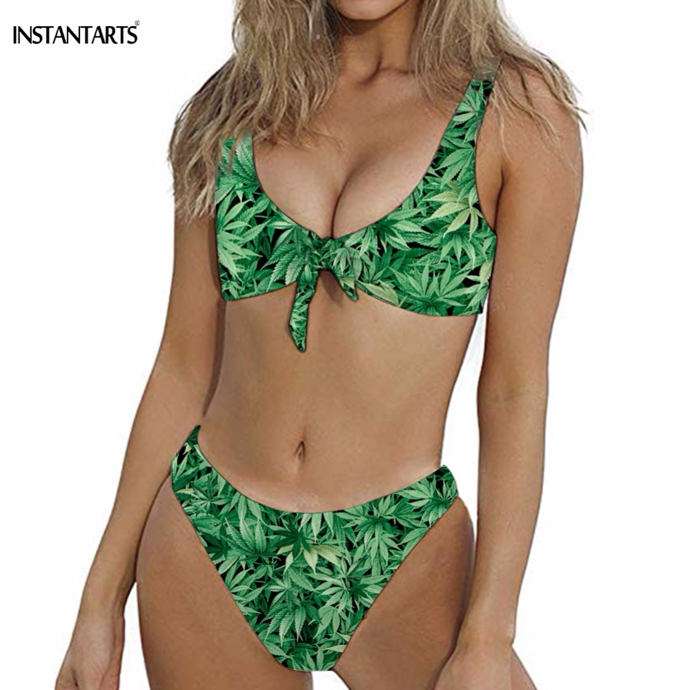 INSTANTARTS Women Summer Sexy Bow-knot Bikini Set Green Hemp Leaf Weed Pattern High Cut Bathing Suits Tie Front Swimming Wear