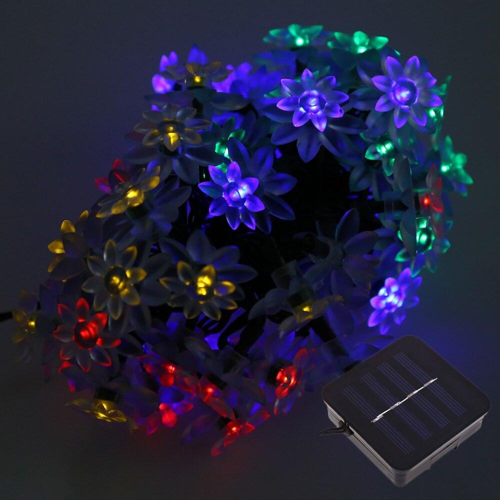 50 светодиодов Солнечный цветок лотоса Строка свет для рождественской вечеринки decoartion ...