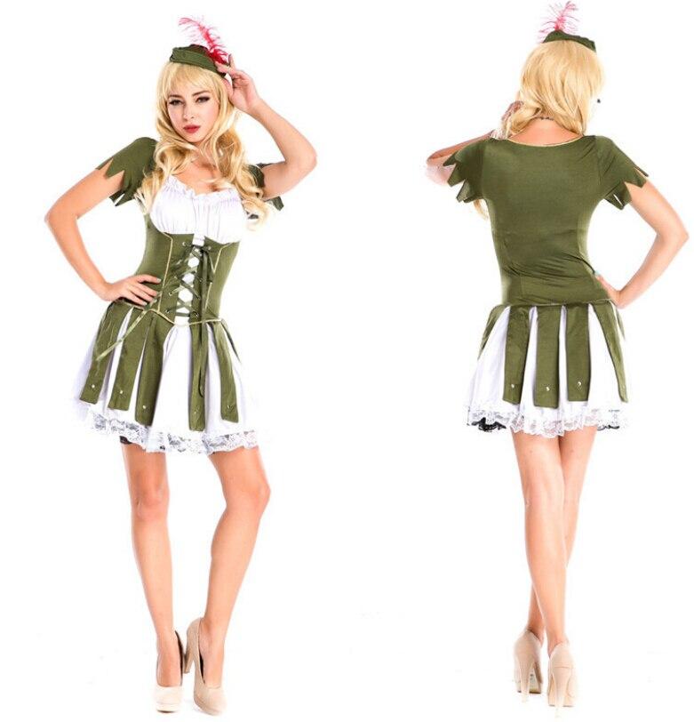 free shipping new ladies short sleeve green plus size super robin fancy dress costume S M L XL 2XL