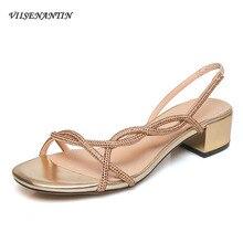 VIISENANTIN/ г.; сандалии; женские супер-популярные летние новые римские сандалии со стразами в сказочном стиле; корейские сандалии на толстом каблуке; обувь с одной стороны