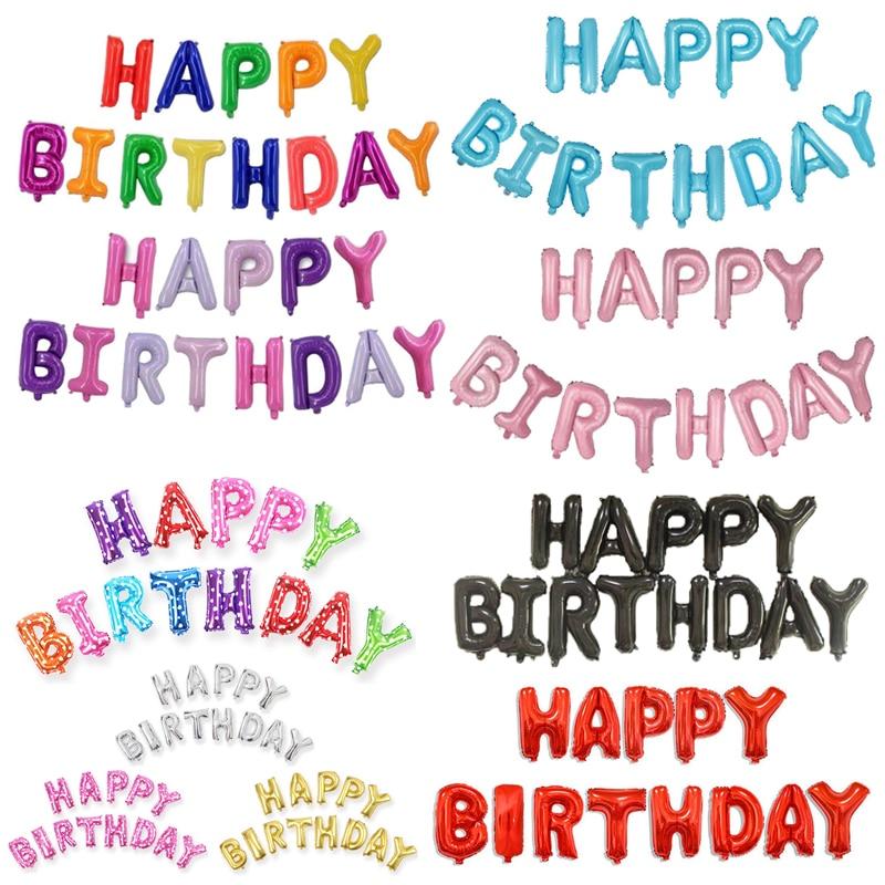13pcs/set 16 Inch Happy Birthday Balloons Party Decoration Letters Alphabet Aluminum Helium Balloon Foil Baloon Baby Kids Globos
