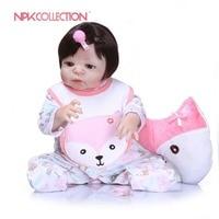 NPKCOLLECTION 23 ''Реалистичного Reborn Детские Куклы новорожденных кукла Полный винил силиконовые тела куклы для малышей bebe игрушки подарки