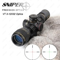 SNIPER VT 3 12X32 Hunting Compact Riflescope Tactical Optical Sights Red Green Illuminated With Wever Offset