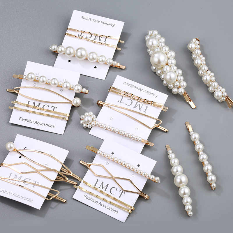 2019 Handmade Pearl Hair Clip Set For Girls Hair Metal Barrette Stick Hairpin Korea Hot Fashion Minimalist Dainty New Arrival