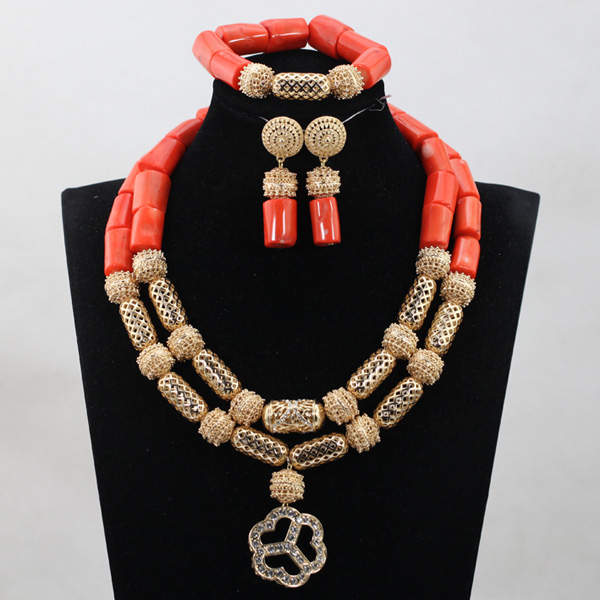 African Wedding Bridal Orange Coral Beads Jewelry sets Nigerian Women Beads Necklace Jewelry Set Free ShippingABH287African Wedding Bridal Orange Coral Beads Jewelry sets Nigerian Women Beads Necklace Jewelry Set Free ShippingABH287