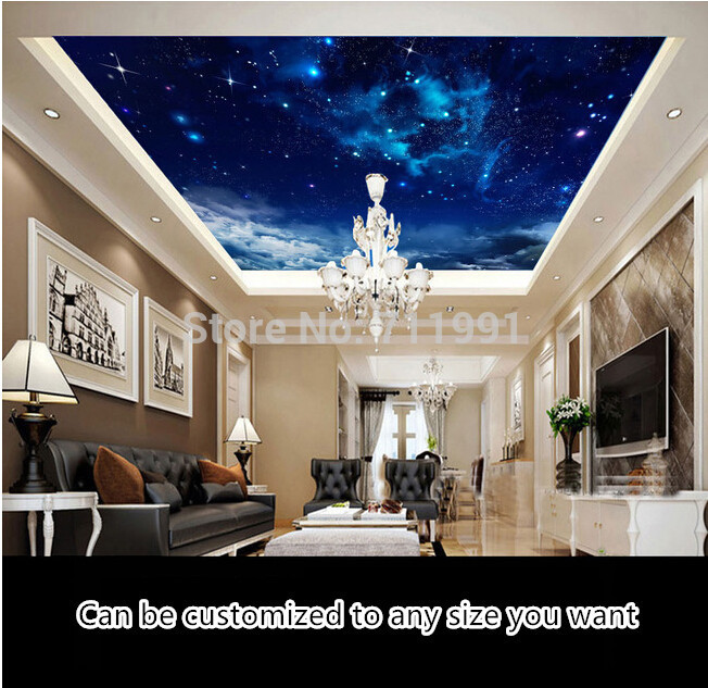 Custom ceiling wallpaper,Nebula in the night sky,3D wallpaper for the living room bedroom ceiling background waterproof PVC custom ceiling wallpaper blue sky and white clouds murals for the living room apartment ceiling background wall vinyl wallpaper