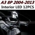 12 pcs X frete grátis Livre de Erros LED Interior Luz Kit Pacote para AUDI A3 8 P acessórios 2004-2013