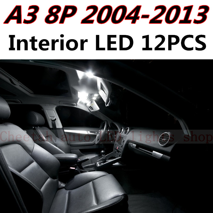 12pcs X free shipping Error Free LED Interior Light Kit Package for AUDI A3 8P accessories 2004-2013 16pc x canbus error free led bulb interior light kit package for audi a3 s3 8p 2006 2013