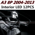 12pcs X free shipping Error Free LED Interior Light Kit Package for AUDI A3 8P accessories 2004-2013