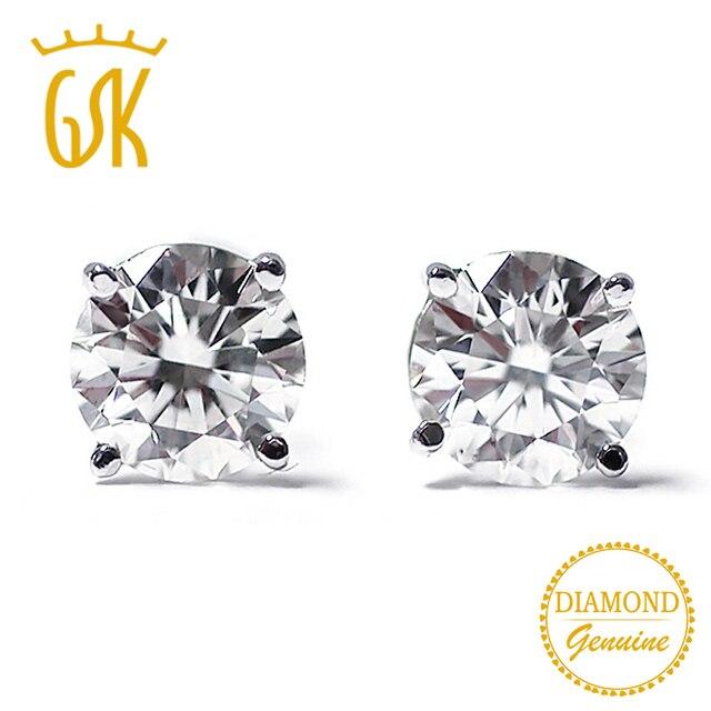 2df55a3527c3 Gemstoneking diamante-joyería 14 K oro blanco 0.22 CT diamante natural  Pendientes de broche para