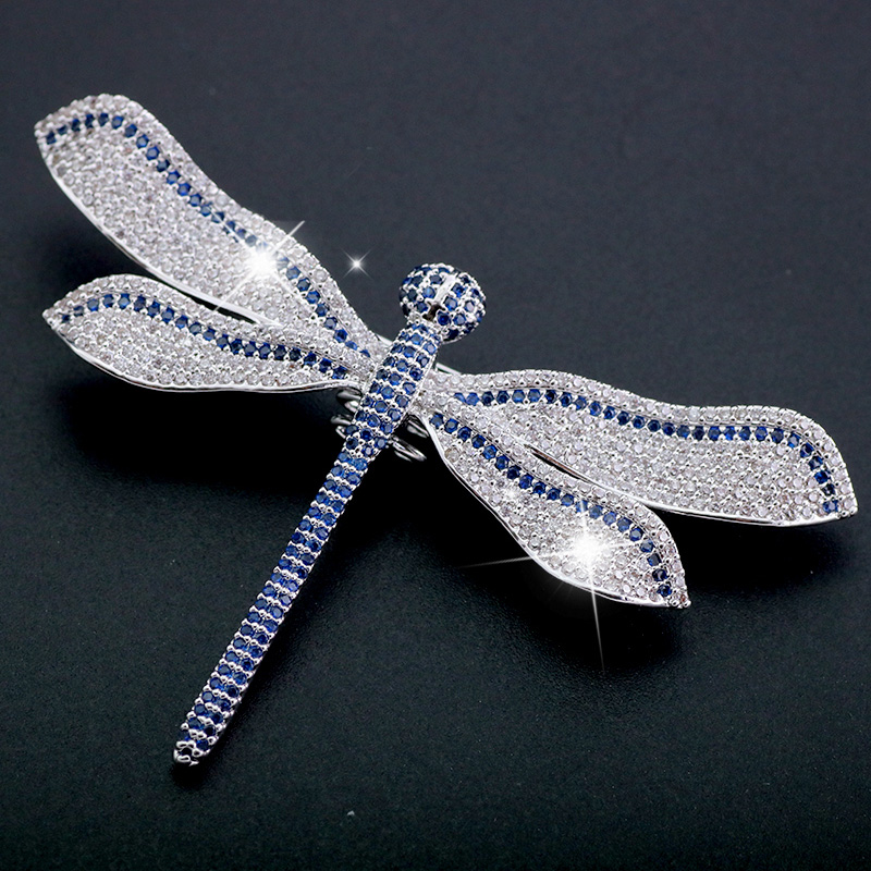 Large Blue White Dragonfly Brooch Rhinestone Broach Vintage Style Bridal Bouquet Scarf Insect Brooches Pin Luxury Gift For Her