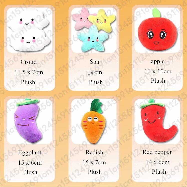 1pc Fruit Vegetable Chicken Drum Bone Squeak Toy For Dog Puppy Plush Red Pepper Eggplant Radish Duck Sounding Pet Toys 1