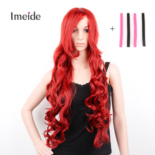 32inch Long Lace Cosplay Wigs Red Curly Natural Wig Perucas for Black Women Perruque Pelucas Sinteticas +Sponge Hair Rollers