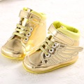 Bling Bling shiny wing cool baby girl boy pu leather Baby Moccasins shoes toddler kid child First Walker gold sports sneaker