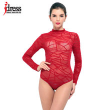 dc0ff75892 IDress Black Red Blue Ladies Bodysuit Top Woman Long Sleeve Rompers Bodysuit  Macacao Body Feminino Lace