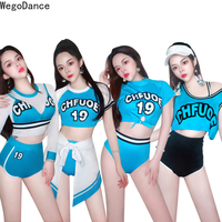 DS Show Cheerleading Group Costume Sexy Hip hop Stage Costume jazz dj costume nightclub blue print bodysuit rave outfit
