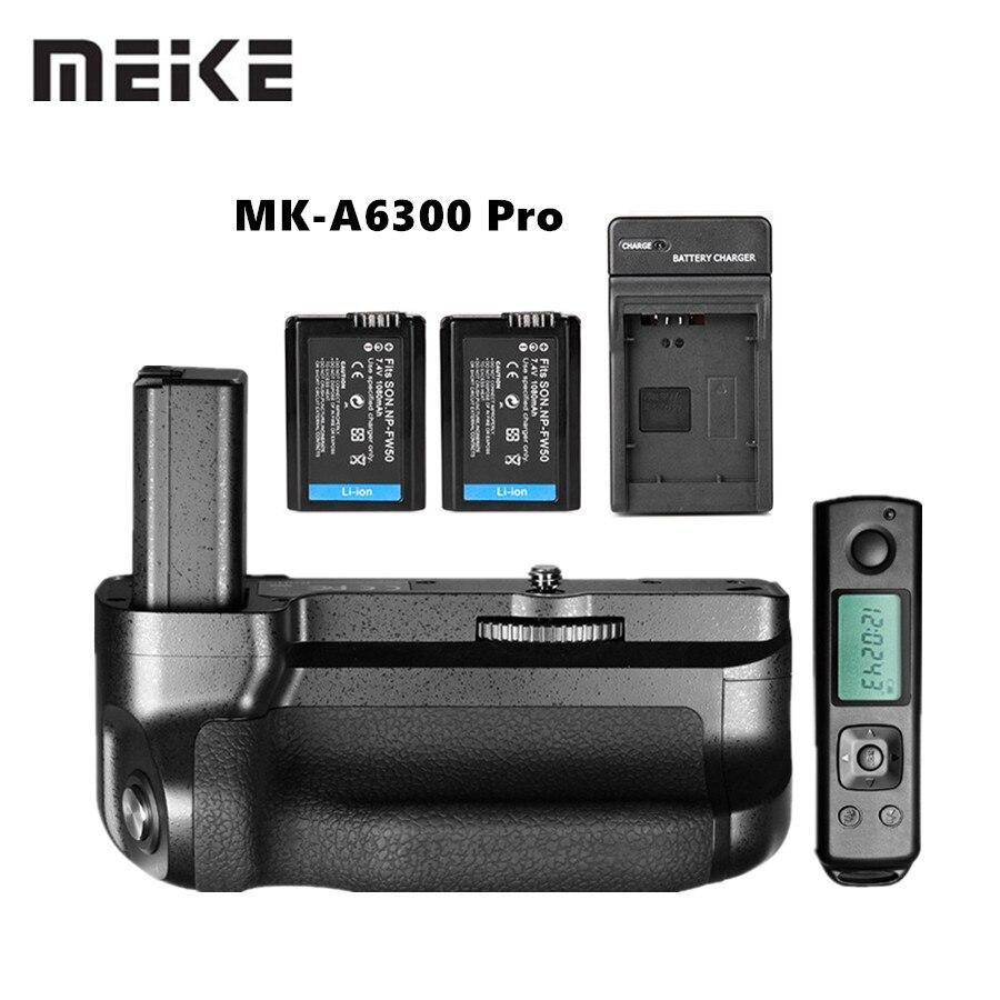 Meike MK-A6300 Pro Batterie Grip Holder Costume Builtin 2.4G Sans Fil Télécommande pour Sony A6000 A6300 Travail avec NP-FW50 batterie