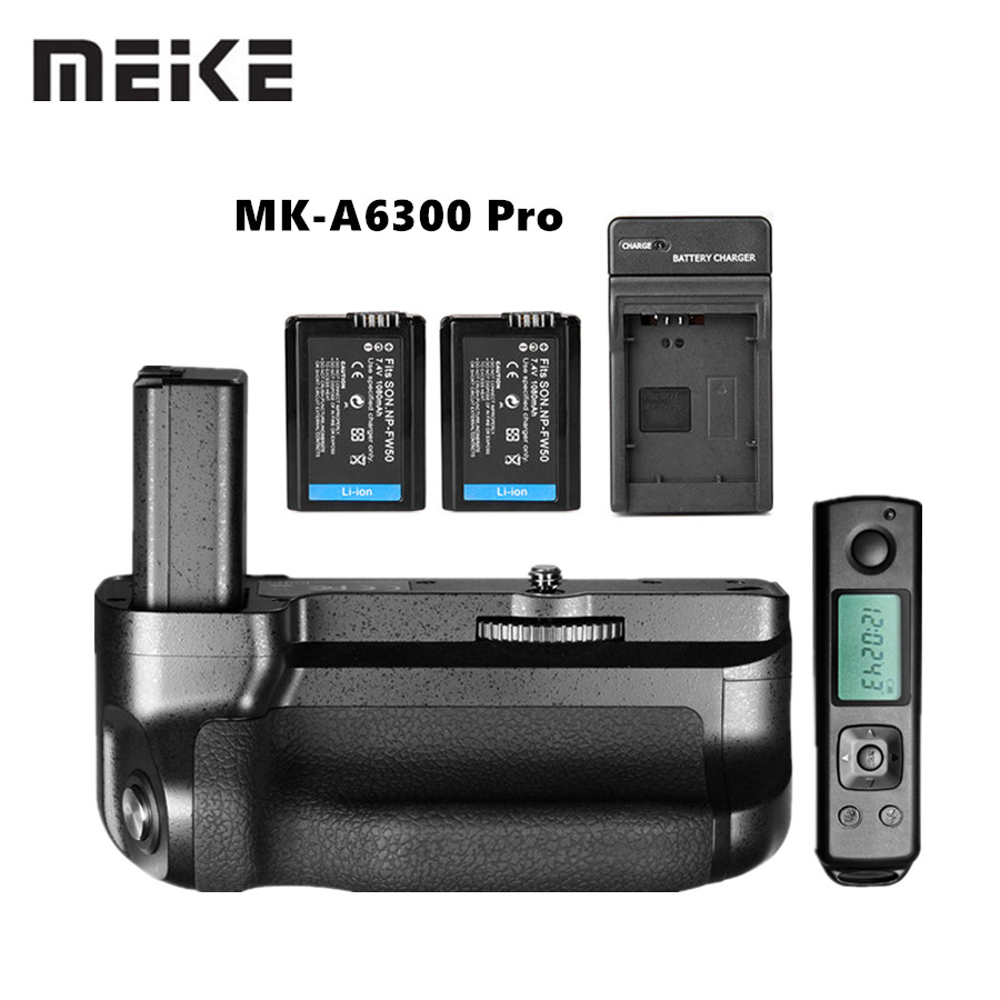 Meike MK-A6300 Pro Battery Grip Holder Suit Builtin 2.4G Wireless Remote Control for Sony A6000 A6300 Work with NP-FW50 battery buy1 gift 4 meike mk a6300 pro battery grip 2 4g wireless remote control suit for sony a6300 working with np fw50 battery