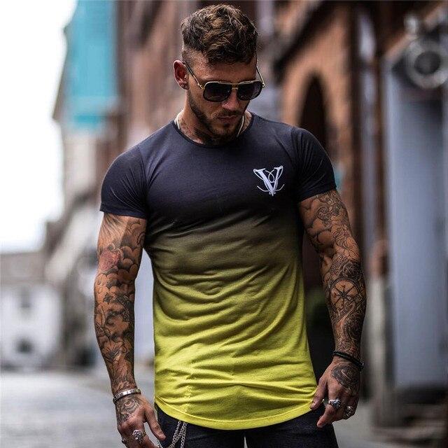 Gradient Color T Shirt Men...
