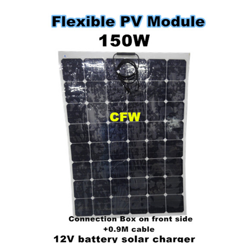 Sun power 150Watts  flexible solar panel, for 12V battery solar home system. solar panel 12V, solar power supply for car, boat.