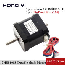 Free shipping Nema 17 Stepper Motor Double Shaft Stepping Motors 48mm 17HS8401S 1.8A for Robot and 3D printer motor(China)