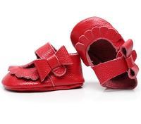 Bel fiocco bambino scarpe Bambino di Cuoio genuino Mocassini scarpe rosa lato oro principessa della ragazza del bambino scarpe Primi Camminatori frangia bambino