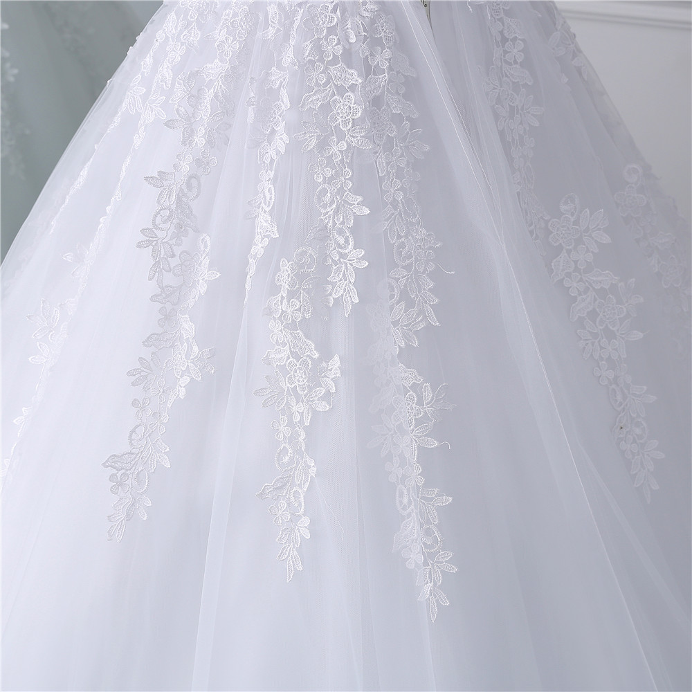 Image 5 - Fansmile 2019 Lace Gowns Wedding Dress Robe Princesse Mariage Plus Size Long Train Tulle Mariage Bridal Wedding Turkey FSM 433T-in Wedding Dresses from Weddings & Events