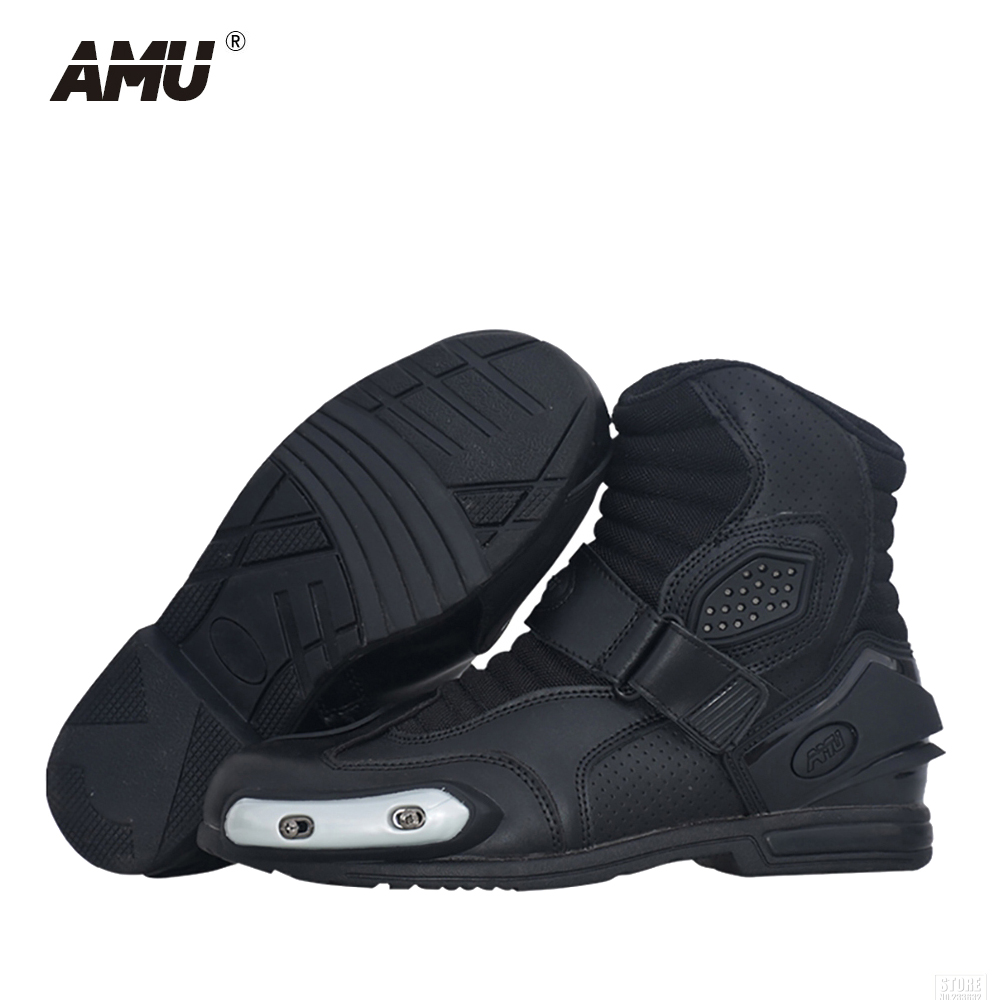 AMU Motorcycle Boots Leather Motocross Men Moto Riding Boots Shoes Motorcycle Protection Breathable Botas Moto Motorbike BootsAMU Motorcycle Boots Leather Motocross Men Moto Riding Boots Shoes Motorcycle Protection Breathable Botas Moto Motorbike Boots