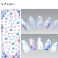 1 sheet Gradient Colors Nail Water Decals Heart Shaped Transfer Stickers Rose Floral Nail Art Sticker Tattoo DS219