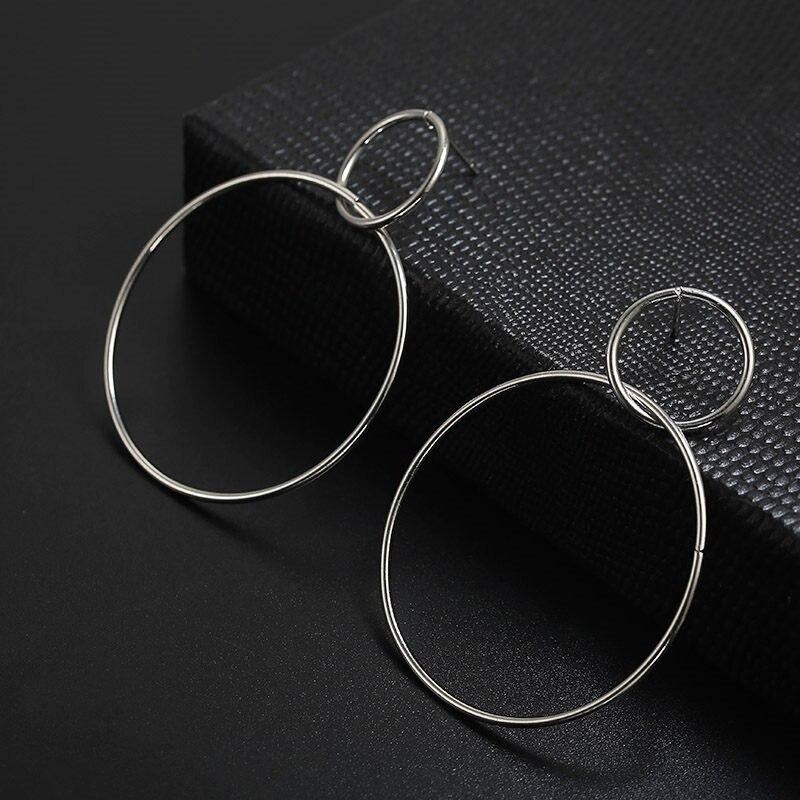 Простые модные геометрические большие круглые серьги золотого цвета с серебряным покрытием для женщин, модные большие полые висячие серьги, ювелирные изделия - Окраска металла: ez39yin