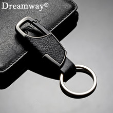 Real leather keychain business man belt buckles key chain key ring accessories birthday gift for boyfriend car key holder