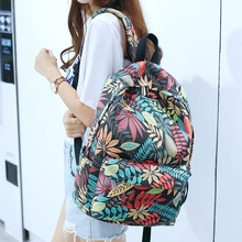 Canvas backpack student bag multicolored leaves printing junior high school female leisure travel