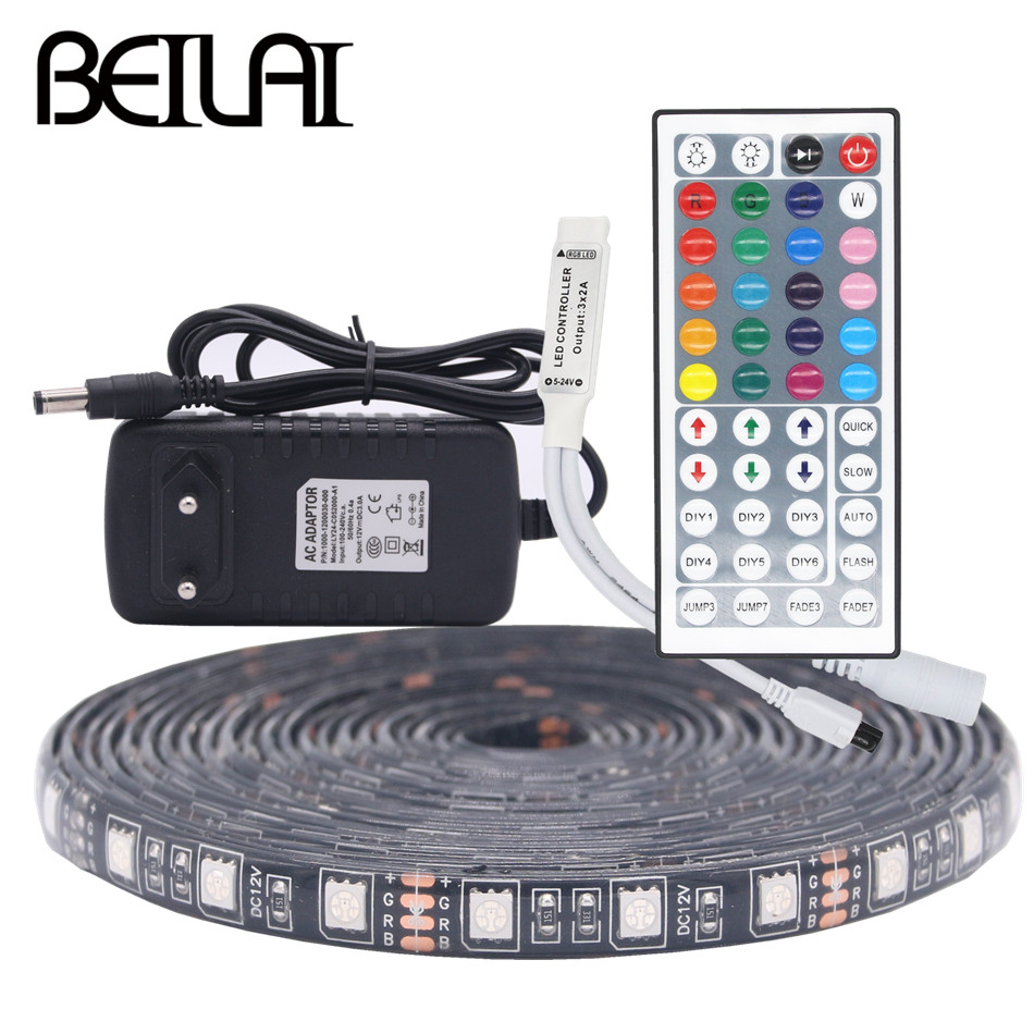 BEILAI SMD 5050 Black PCB RGB LED Strip Waterproof 5M 300LED DC 12V LED Light Strips Flexible Tape Add 3A Power And 44Key Remote beilai 5050 rgb led strip waterproof 5m 10m 30led m dc 12v led light strip flexible neon tape with 3a power and 44key remote