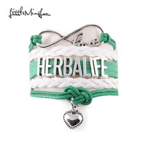 Little MingLou Infinity love herbalife bracelet heart pendant charm knot bracelets & bangles for women men jewelry drop shipping