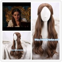 Movie Beauty And The Beast Princess Belle Long Wig Emma Waston Wavy Wig Cosplay Role Play