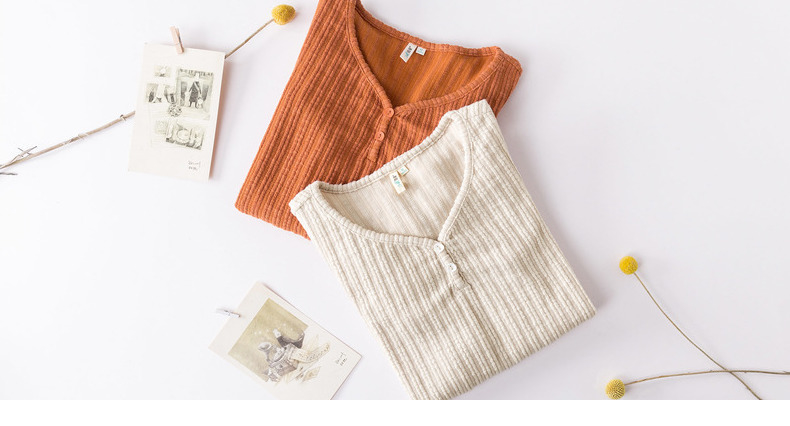 INMAN 19 Autumn Winter Korean Style Solid Color V Neck Striped Tee Shirt Femme Fashion Women Ladies Long Sleeve Plain T Shirt 23
