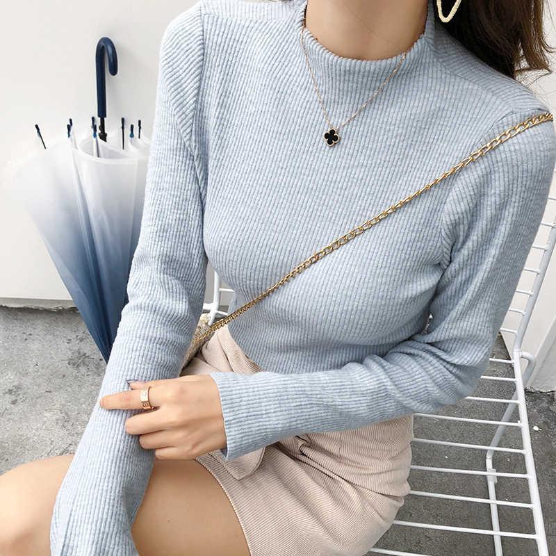 2019 MISHOW Otoño Invierno pequeño cuello alto tejido bottoming camisa mujeres slim fit manga larga suéter tops MX18D3417