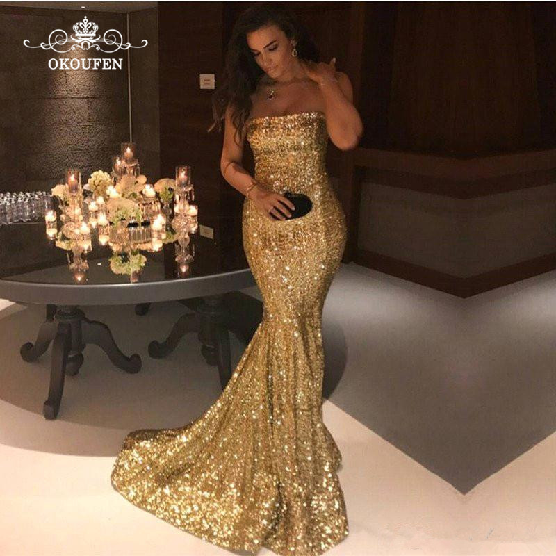 Bling Gold Sequined Mermaid   Prom     Dresses   2019 Strapless Long Formal Evening   Dress   Graduation For Women