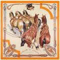 130cm*130cm Women Fashion Twill Silk Euro Brand Animal Hand Oil Painting Ink Horse Square Scarf Horse Print Hot Sale Femal Wrap
