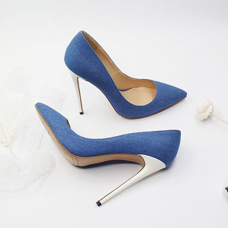 Moraima Mince 2019 Blue Pour Talons Deep Blue Sexy Pointu light Date Bleu Chaussures Cm Talon Snc Pompes Femme 12 Denim Bout Aiguilles À Hauts zUSqMpGV
