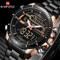 NAVIFORCE New Fashion Casual Men Digital Watches Men S Sport Watch Full Steel Waterprppf Military LED