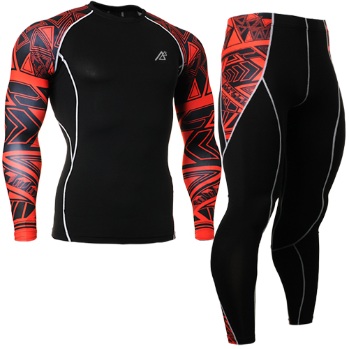 ФОТО 2015 Quick Dry running sets suit for jogging men Round Neck Gym long sleeve Tshirts and pants For Team