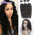 Pre Plucked 360 Frontal With Bundles Brazilian water wave 360 Lace Virgin Hair Natural Hairline Lace Band Frontal With Baby Hair