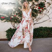 WildPinky Women White Floral Print Dress Sexy Summer Boho Deep V-neck Maxi Split Drawstring Beach Dresses Vestidos