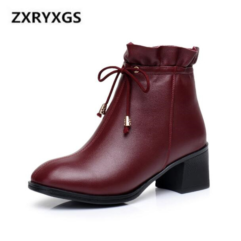 New Retro Lace Genuine Leather Boots 2019 Spring Comfort Breathable Women Boots Non-slip Fashion Ankle Boots High Heels 6 cmNew Retro Lace Genuine Leather Boots 2019 Spring Comfort Breathable Women Boots Non-slip Fashion Ankle Boots High Heels 6 cm