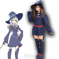 Little Witch Academia Cosplay Costume Kagari Atsuko Sucy Manbavaran Halloween Dress Hat wigs