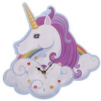 1Piece Unicorn Wall Clock Unicorn and Rainbow Decor Magic Clock Creative Art Wall Decoration Time Clock For Kids Girls Her