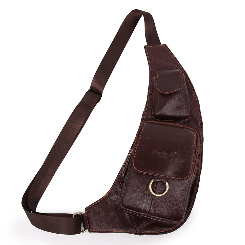 Brand Genuine Leather Sling Bag Mens Chest Pack Crossbody Shoulder Bag Messenger Bag Casual Travel Bag For Mobile Phone Wallet ...