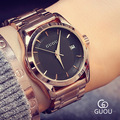 Hot Sale GUOU Luxury Full Stainless Steel Rose Gold Hardlex Quartz Wristwatches Wrist Watch Bracelet for Women Ladies 8055 OP001